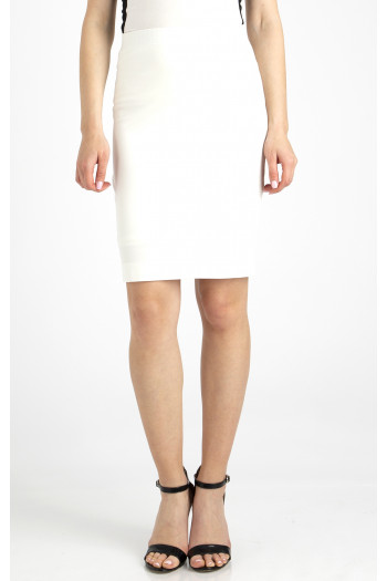 Stretch white jersey skirt