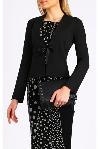 Black long sleeve jacket with satin bow