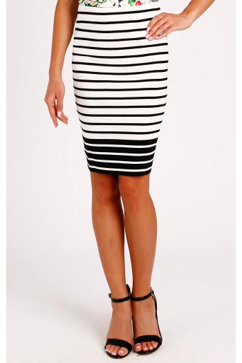 Striped jersey skirt
