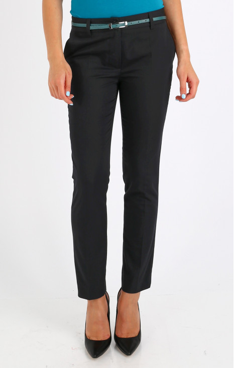 Straight-fit black trousers