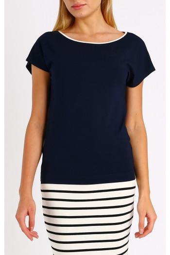 Dark blue loose silhouette blouse