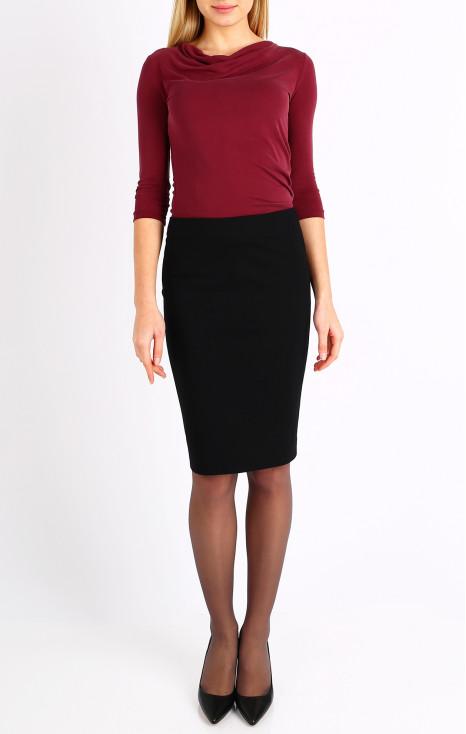 Black stretch jersey skirt