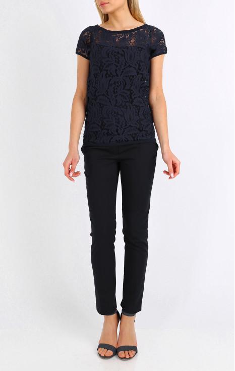 Dropped shoulders lace blouse