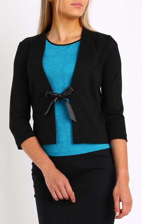 Black satin bow jacket