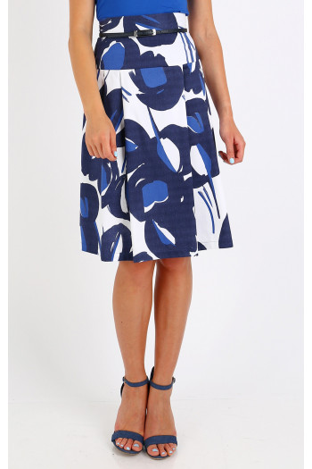 Graphic printed flared skirt