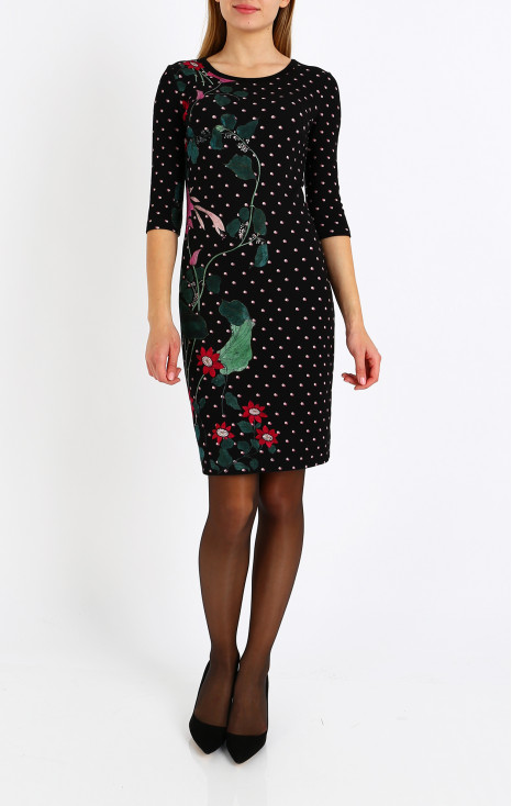 Straight-fit dress with flower print