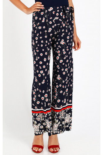 Loose-fit floral printed trousers