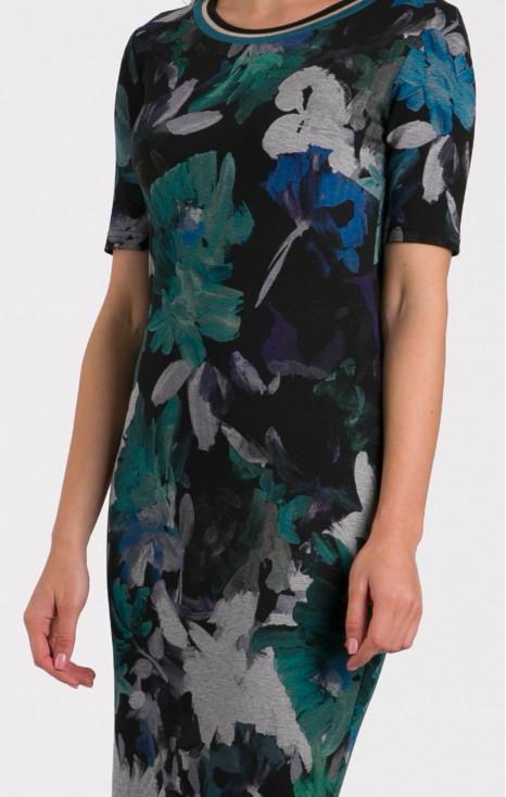 Short sleeve straight-fit dress