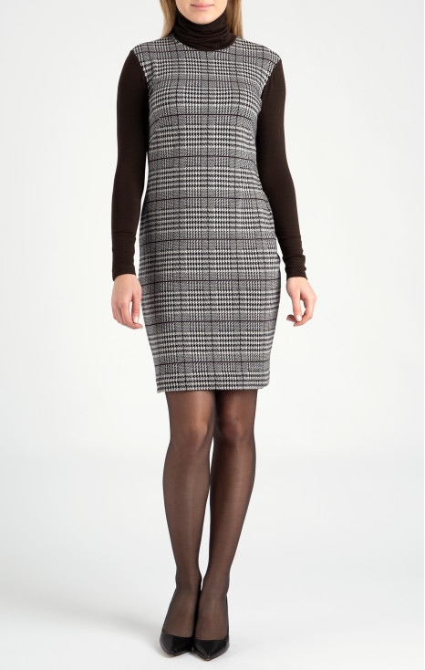 Straight-fit high neck dress