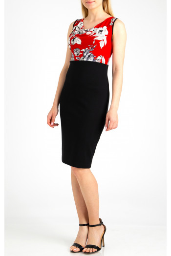 Fitted dress with a draped neckline
