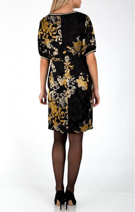 Transparent straight midi dress in black