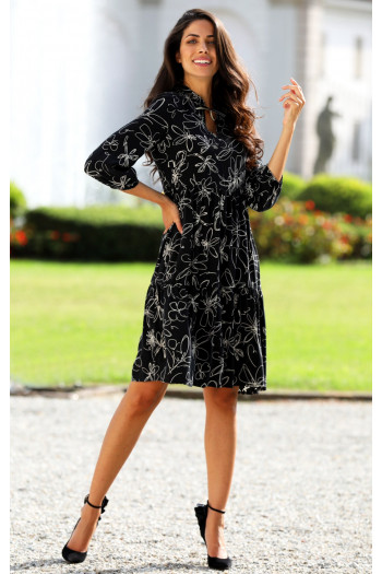 Elegant viscose dress with frills