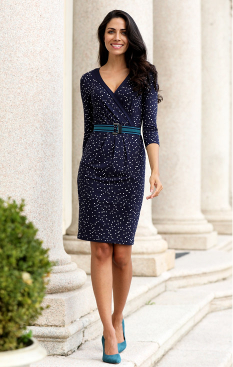 3/4 sleeve straight-fit dress